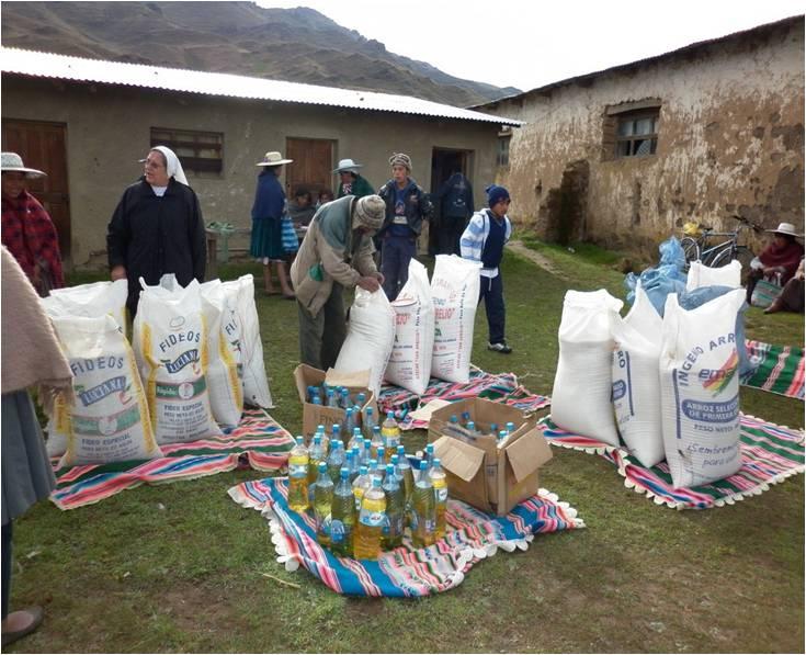 Verteilung der Waren im Gemeindeladen